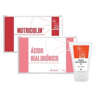 COMBO| Ácido Hialurônico + Gel Creme com Ácido Hialurônico 1% + Nutricolin®- Proteína da Beleza