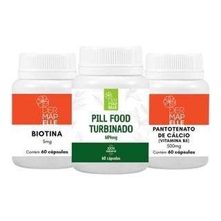 COMBO| Biotina + Pantotenato de Cálcio + Pill Food Turbinado