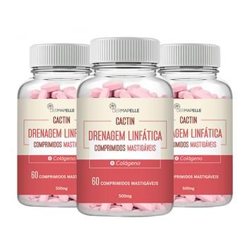 COMBO| Cactin Drenagem Linfática 60 Comprimidos Mastigáveis (3 Unidades)
