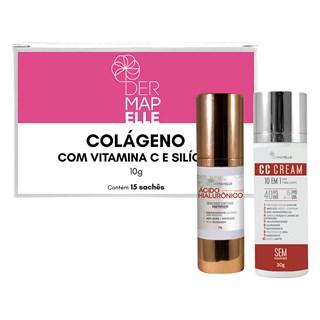 COMBO | CC Cream 10 em 1 FPS 40 + Ácido Hialurônico + Colágeno com Vitamina C e Silício