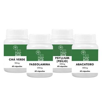COMBO Chá Verde 100mg + Faseolamina 250mg + Psílio (Psyllium) 500mg + Abacateiro 400mg