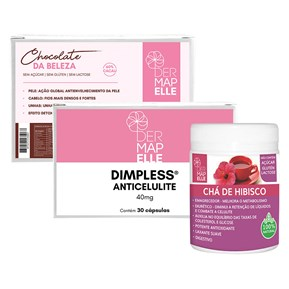 COMBO | Chocolate da Beleza + Dimpless Anti Celulite + Chá Solúvel Hibisco