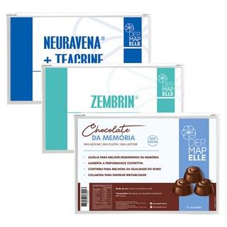 COMBO Chocolate da Memória + Zembrin Cápsulas da Felicidade + Teacrine com Neuravena - Cápsulas do Prazer
