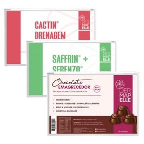 COMBO | Chocolate Emagrecedor + Cactin Drenagem Linfática + Saffrin com Serenzo - Cápsulas do Prazer