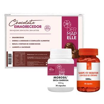 COMBO Chocolate Emagrecedor + Morosil Seca Barriga + Shape Fit Redutor com Óleo de Cártamo