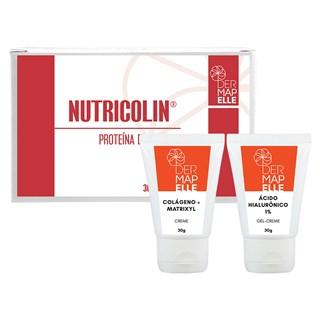 COMBO| Colágeno com Matrixil + Gel Creme com Ácido Hialurônico 1% + Nutricolin®- Proteína da Beleza