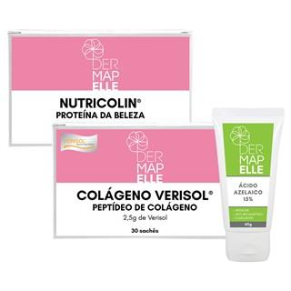 COMBO| Colágeno Verisol 30 Sachês + Nutricolin - Proteína da Beleza + Ácido Azelaico 15%