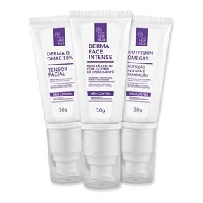 COMBO   DMAE 10% - Tensor Facial + Emulsão Facial Intense + Creme Hidratante Facial Nutriskin Ômegas