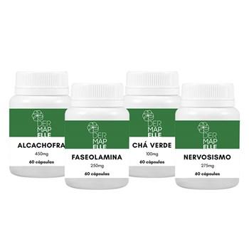 COMBO Faseolamina 250mg + Alcachofra 450mg + Chá Verde 100mg + Nervosismo 275mg