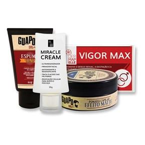 COMBO | Miracle Cream + Ashwagandha Vigor Max + Pomada Capilar Efeito Matte + Espuma de Barbear