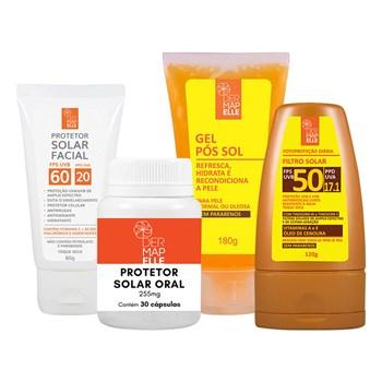 COMBO Protetor Solar Oral + Protetor Solar Facial FPS 60 + Gel Pós Sol + Protetor Solar FPS 50