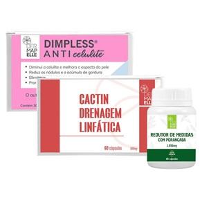 COMBO | Redutor de Medidas com Porangaba + Dimpless® Anti Celulite + Cactin Drenagem Linfática