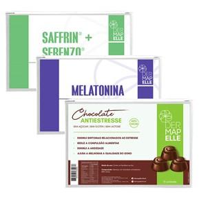 COMBO | Saffrin com Serenzo Cápsulas do Prazer + Melatonina + Chocolate Anti Estresse