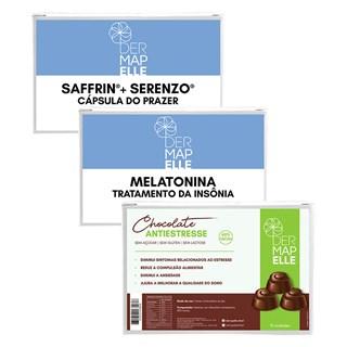 COMBO Saffrin com Serenzo Cápsulas do Prazer + Melatonina + Chocolate Antiestresse