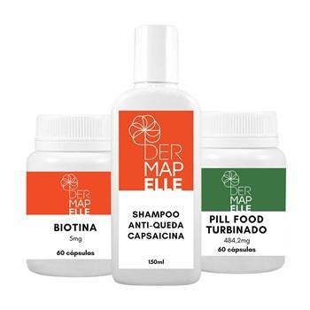 COMBO| Shampoo Anti-Queda Capsacina + Pill Food Turbinado + Biotina