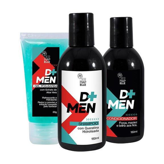 COMBO   Shampoo com Queratina Hidrolisada + Condicionador + Gel Pós Barba com Extrato de Aloe Vera