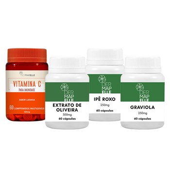 COMBO Vitamina C 500mg + Extrato de Oliveira 300mg + Ipê Roxo 250mg + Graviola 250mg