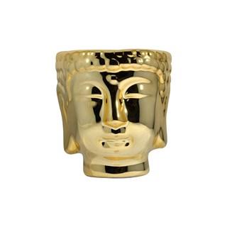 Vaso para Plantas Cabeça de Buda Dourado